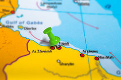 Tripoli Libya map. Tripoli in Libya pinned on colorful political map of Africa. Geopolitical school atlas. Tilt shift effect Stock Image