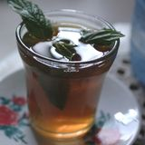 Mint tea closeup. Tripoli, Lybia - May 28, 2002: Mint tea served in a cafe Stock Photography