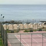 Tennis court in Tripoli royalty free stock photo