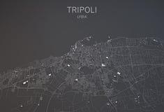 Tripoli mapa, Libia, satelitarny widok Zdjęcie Stock