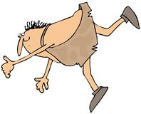 Tripping caveman stock illustration