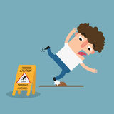 Tripping hazard caution sign.Danger of stumbling isolated illust Stock Image
