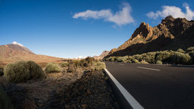 Tripping Teide National Park. Road through the caldera of Teide National Park Stock Images
