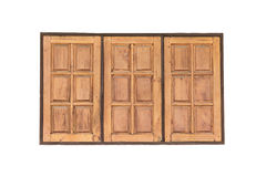 Tripple old wood window on white wall concrete for texture backg Stock Images