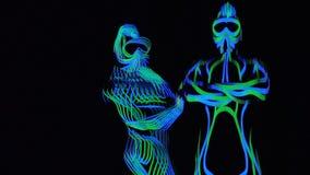 Trippy Effekt mit dem glühenden Kostüm der Frau in der Dunkelheit stock video