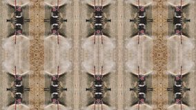 Trippy kalejdoskopu skutek z syndykatów żniwiarzami obraca w logo, 4k zdjęcie wideo