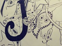 Trippy psychadellic Skizzen-Kunst der Zeichnungsillustration gelegentlicher kühler pics Lizenzfreie Stockfotografie