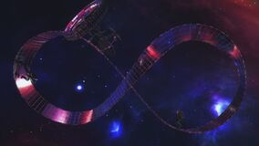 Trippy sci-fi 3D animation of the astronauts running endlessly on a Mobius strip