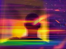 Trippy Silhouette of a Person with trippy bokeh effect. Colourful image of a silhouette in front of a window Stock Photography