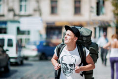 Trips around the city. Trips guy around town; Skull T-shirt Stock Images