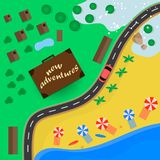 Trips to warm destinations for the holidays by car. Vector illustration vector illustration
