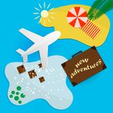 Trips to warm destinations for the holidays by plane. Vector illustration vector illustration