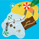 Trips to warm destinations for the holidays by train. Vector illustration stock illustration