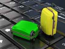 Trips, travel,. Suitcases on the keyboard Stock Photography