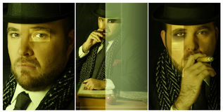 Triptic composite off big boss Royalty Free Stock Images