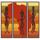 Triptych of african american woman Royalty Free Stock Photos