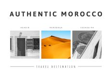 Triptych of beautiful landscapes of the Moroccan desert. Adventure concept. Postcard concept stock photo