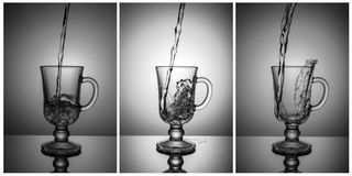 Triptych. Composition for decoration of bar, nightclub. Three photographs, black and white. A set of glasses. Royalty Free Stock Photos