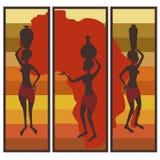 Triptych da mulher americana africana Fotos de Stock Royalty Free