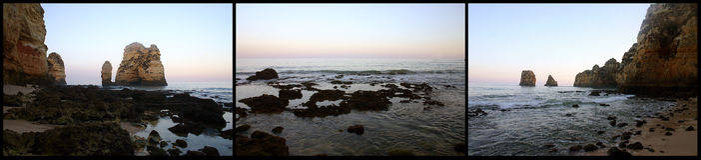 Triptych da praia fotos de stock