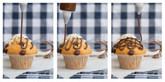 Triptych of icing frosting being put onto home made chocolate ch Royalty Free Stock Images
