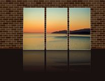 triptych photo with azure smooth surface of the ocean with yellow glare of the setting sun stock photos