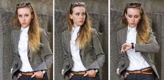 Triptych of portraits young woman near the wall Royalty Free Stock Image