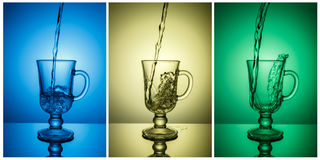 Triptych. Ready-made composition for decoration of a bar, night club. Three pictures, three colors. Royalty Free Stock Images
