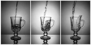 triptych Samenstelling voor decoratie van bar, nachtclub Drie zwart-witte foto's, Een reeks glazen Royalty-vrije Stock Foto's