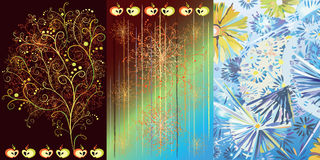 Triptych with seasons. Decorative flowers, tree and apples on brown, blue and multicolored backgrounds Stock Image