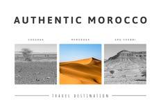 Triptyk av härliga landskap av den marockanska öknen royaltyfri bild