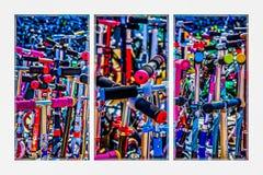 Triptyk - höga Tid som köper en sparkcykel Royaltyfri Foto