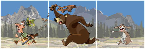 Triptyktecknad filmbjörn som jagar en jägare och harehånen vektor illustrationer