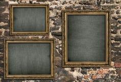Triptyque avec la toile vide Images stock