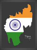 Tripura map with Indian national flag illustration Stock Photos
