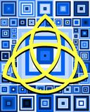 Triquetra on abstract squares background. Image representing a triquetra on an abstract blue background Royalty Free Stock Photos