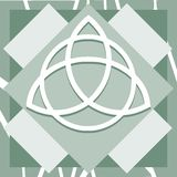 Triquetra on background in green tones isolated. Illustration representing a version of one of the most esoteric symbol: triquetra Royalty Free Stock Photo