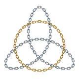 Triquetra con el círculo hecho de cadenas de oro y de plata entretejidas Símbolo céltico de la trinidad Ilustración del vector stock de ilustración