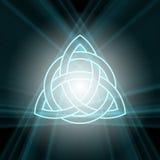 Triquetra-Dreiheitsknoten mit hellem Aufflackern Stockfotos