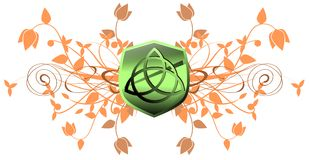 Triquetra on floral abstract background Royalty Free Stock Photo