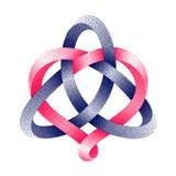 Triquetra Keltische knoop met hartsymbool van gestippelde mobiusstrook Harmonisch liefdeteken Vector illustratie royalty-vrije illustratie