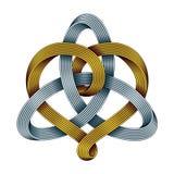 Triquetra mit Herzen von goldenen und silbernen mobius Streifen Einheit im Liebessymbol Auch im corel abgehobenen Betrag lizenzfreie abbildung