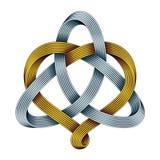 Triquetra mit Herzen von goldenen und silbernen mobius Streifen Harmonisches Liebessymbol Auch im corel abgehobenen Betrag vektor abbildung