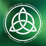 Triquetra symbol. White Triquetra symbol on green abstract background Royalty Free Stock Image