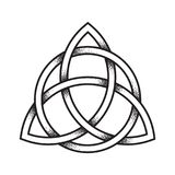 Triquetra or Trinity knot. Hand drawn dot work ancient. Pagan symbol of eternity and trinity isolated vector illustration. Black work, flash tattoo or print Stock Image