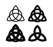 Triquetra - Wiccan symbol from Charmed. Celtic Pagan trinity knots different forms. Vector icons of ancient emblems. Triquetra - Wiccan symbol from Charmed royalty free illustration