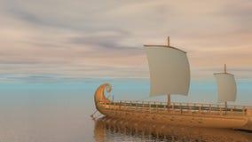Trireme łódź na oceanie - 3D odpłacają się zdjęcie wideo