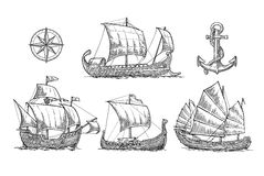 Trireme, caravel, drakkar, junk. Set sailing ships floating sea waves. Stock Photo