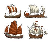 Trireme, caravel, drakkar, junk. Set sailing ships floating sea waves. Trireme, caravel, drakkar, junk. Set sailing ships floating on the sea waves. Hand drawn Royalty Free Stock Image