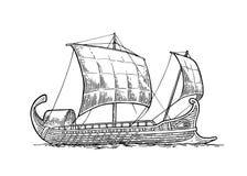 Trireme flottant sur les vagues de mer illustration de gravure d'intage illustration stock